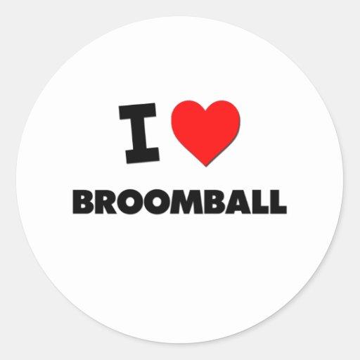 Amo Broomball Etiquetas Redondas