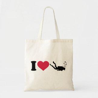Amo buceo con escafandra bolsas de mano