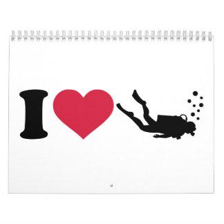 Amo buceo con escafandra calendario de pared