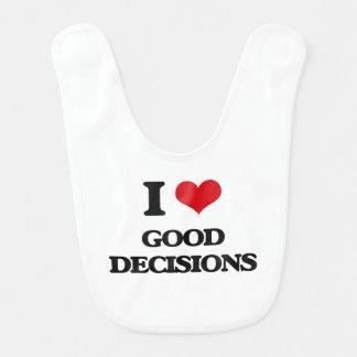 Amo buenas decisiones babero