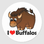Amo búfalos etiquetas redondas