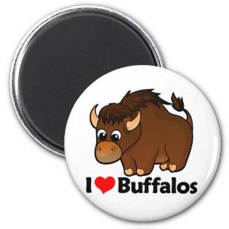 Amo búfalos imán redondo 5 cm
