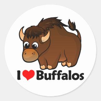 Amo búfalos pegatina redonda