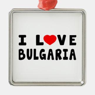 Amo Bulgaria Adorno Cuadrado Plateado