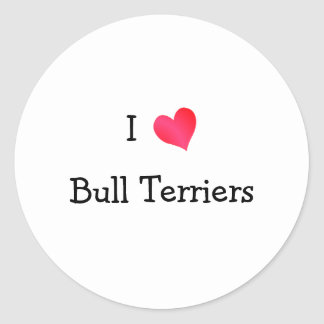 Amo bull terrier pegatina redonda