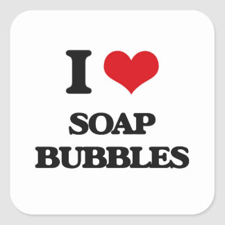 Amo burbujas de jabón pegatina cuadrada