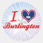 Amo Burlington, Wyoming Etiquetas Redondas