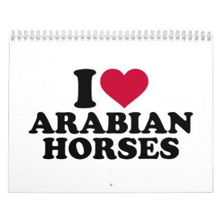 Amo caballos árabes calendarios de pared