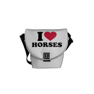 Amo caballos bolsa de mensajería