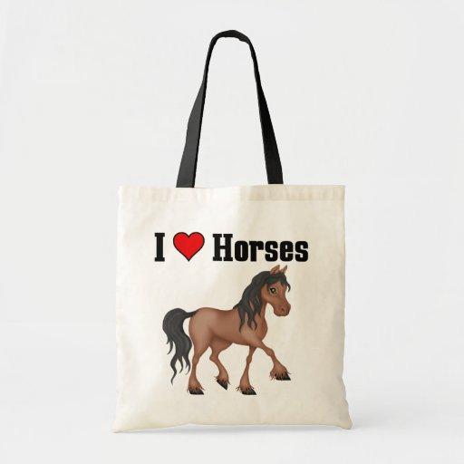 Amo caballos (del corazón) bolsa tela barata