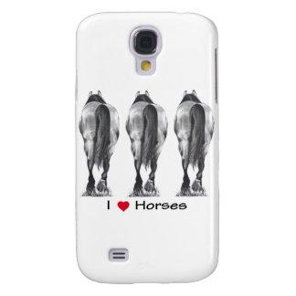 Amo caballos: Dibujo de tres extremos posteriores  Funda Para Galaxy S4