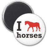 Amo caballos imán redondo 5 cm