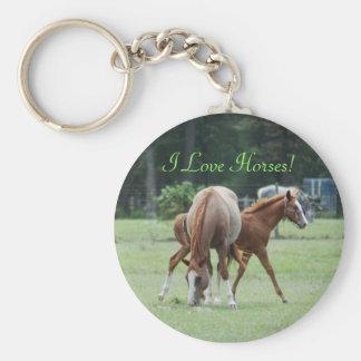 ¡Amo caballos! Llavero de la yegua y del potro