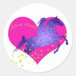 Amo caballos pegatina redonda