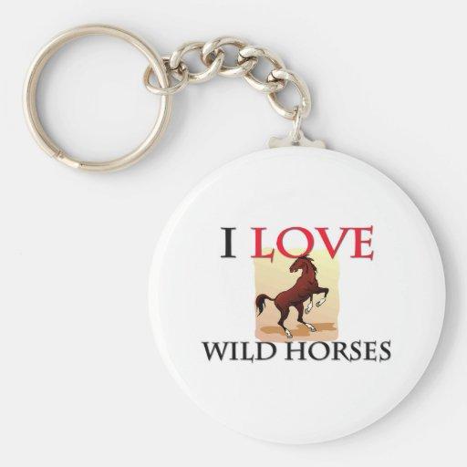 Amo caballos salvajes llavero redondo tipo pin