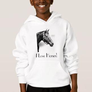 ¡Amo caballos! Sudadera con capucha de los chicas