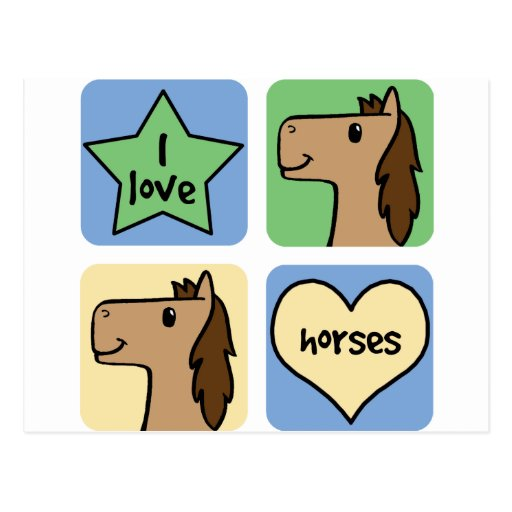 Amo caballos tarjeta postal