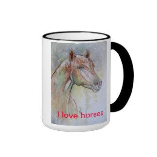 Amo caballos taza a dos colores