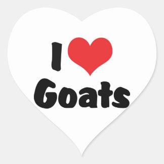 Amo cabras pegatina corazon