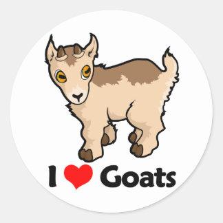 Amo cabras etiquetas redondas