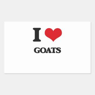 Amo cabras rectangular pegatina