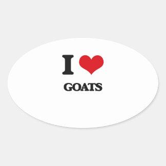 Amo cabras calcomanía óval personalizadas