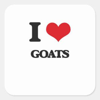 Amo cabras pegatina cuadradas personalizadas
