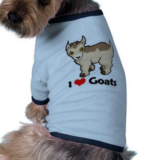 Amo cabras camiseta con mangas para perro