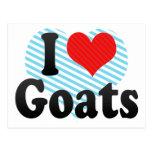 Amo cabras tarjeta postal
