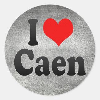 Amo Caen, Francia. J'Ai L'Amour Caen, Francia Pegatina Redonda