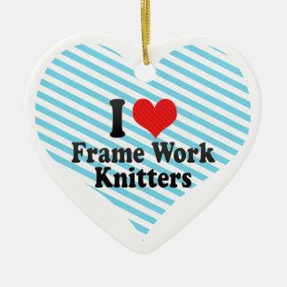 Amo calceteros del trabajo del marco adorno navideño de cerámica en forma de corazón