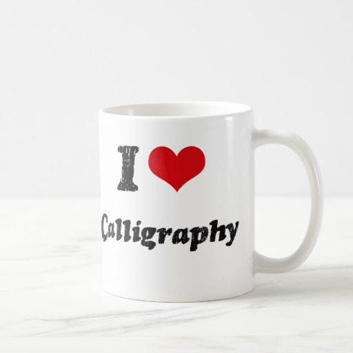 Amo caligrafía taza de café