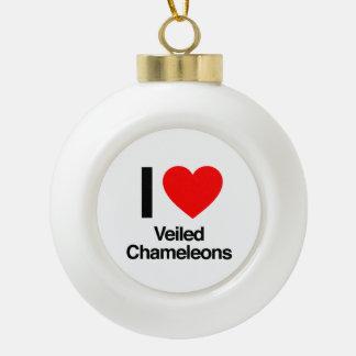 amo camaleones velados adorno de cerámica en forma de bola