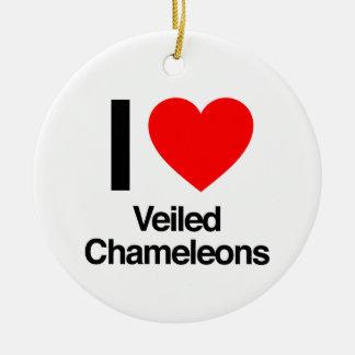 amo camaleones velados adorno redondo de cerámica