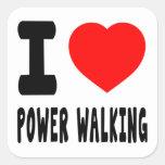 Amo caminar del poder calcomanía cuadrada