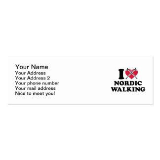 Amo caminar nórdico tarjetas de visita mini