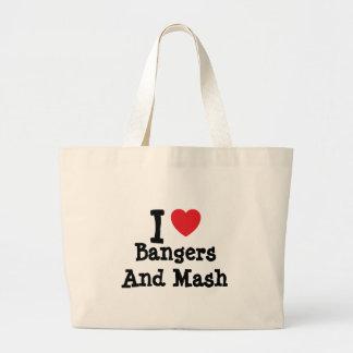 Amo camiseta del corazón de los Bangers y del puré Bolsa Lienzo
