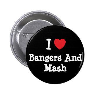 Amo camiseta del corazón de los Bangers y del puré Pin