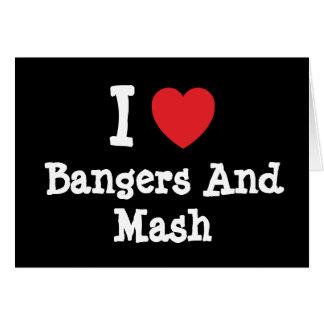 Amo camiseta del corazón de los Bangers y del puré Tarjetón