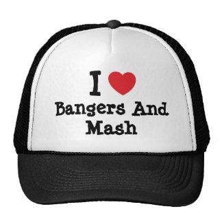 Amo camiseta del corazón de los Bangers y del puré Gorras
