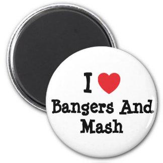 Amo camiseta del corazón de los Bangers y del puré Iman Para Frigorífico