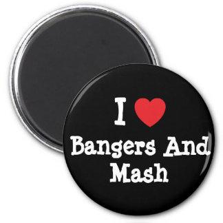 Amo camiseta del corazón de los Bangers y del puré Imán