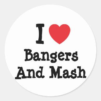Amo camiseta del corazón de los Bangers y del puré Pegatina Redonda