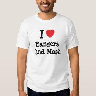 Amo camiseta del corazón de los Bangers y del puré Playeras