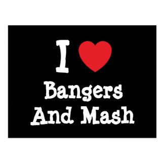 Amo camiseta del corazón de los Bangers y del puré Postal