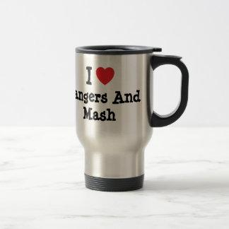 Amo camiseta del corazón de los Bangers y del puré Tazas De Café