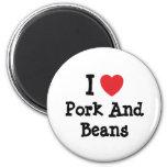 Amo camiseta del corazón del cerdo y de las habas imán para frigorífico