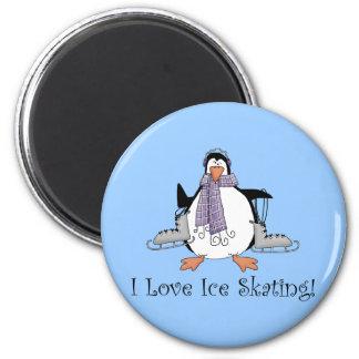 Amo camisetas y los regalos del pingüino del patin iman