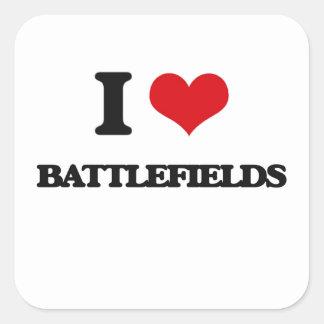 Amo campos de batalla calcomania cuadradas