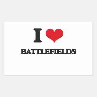 Amo campos de batalla rectangular pegatina